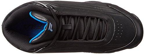 Fila Men's Slam 12C Basketball Shoe, Black/Electric Blue/Metallic Silver, 12 M US