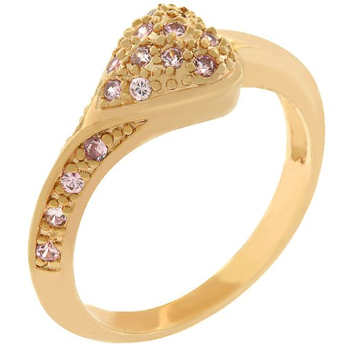 Heart 14k Rose Gold Plated CZ Anniversary Ring Size 9