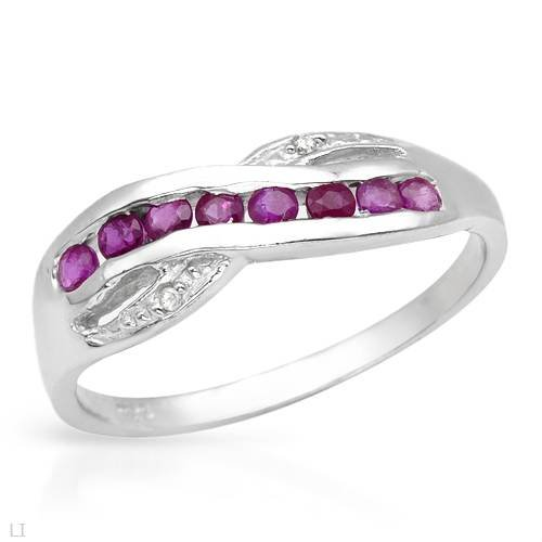 Ring With Precious Stones - Genuine Diamonds and Rubies in 925 Sterling silver (Size 7)