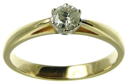 9ct Yellow Gold Ladies 1/4 Carat Diamond Solitaire Ring