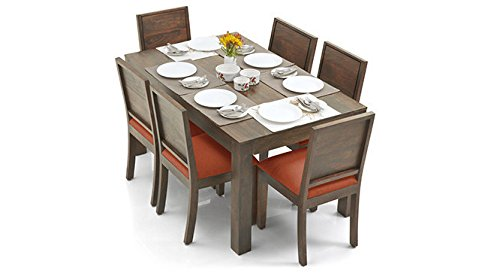 Urban Ladder Arabia - Oribi Six Seater Solid Wood Dining Table Set (Teak Finish Finish, Burnt Orange)