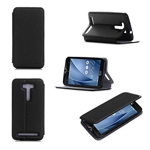 Nera Custodia Pelle Ultra Slim per Asus ZenFone 2 Laser ZE550KL 5.5 pollici smartphone 4G - Flip Case Funda Cover protettiva Asus ZenFone 2 Laser 5,5 inch 4G/LTE (PU Pelle - Nero/Black) - XEPTIO accessori