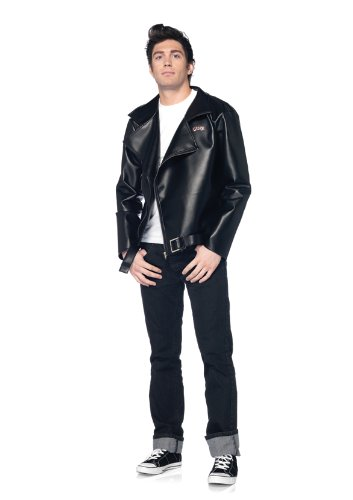 Leg Avenue Grease Men's Fax Leather T-Birds Jacket, Black, Medium/Large