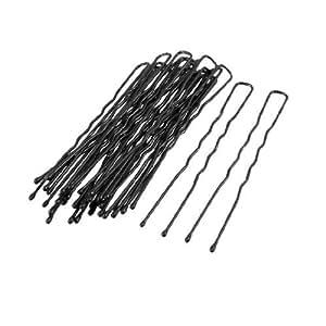 Woman Hair Barrette Wave Clips Single Prong Bob Pin Black 20 Pcs