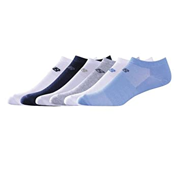 New Balance Women's NS6 Expression Sock,Blue, White/Blue, Grey/Heather, White/Grey, Navy, White/Navy,Medium, pack of 6