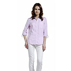 SbuyS - Regular Fit Pink & White Button Down Shirt