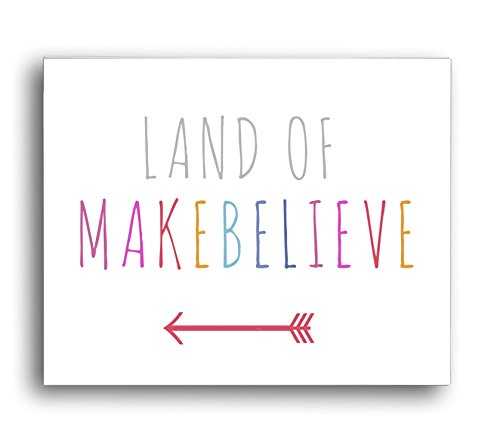 Land of Makebelieve 14x11 Wall Art Print for Boys, Girls or Baby's Room, Nursery Decor, Perfect for a Playroom or Classroom, Gender Neutrall - 1