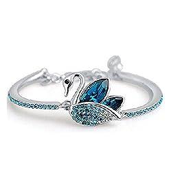 Shining Diva Fashion Blue Platinum Plated Austrian Crystal Kadaa bracelet for Girls