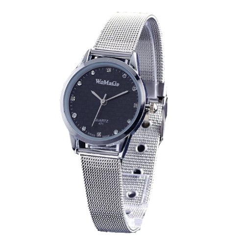 2013newestseller Brand Womage Watches Mens Womens Unisex Stainless Steel Band Fashion Watches on Sales Size M Blac(Silver Side Silver band) image