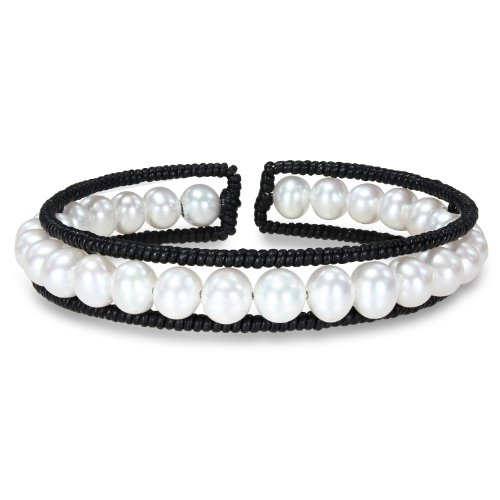 Freshwater White Pearl Black Leather Wire Bangle Bracelet (8in)