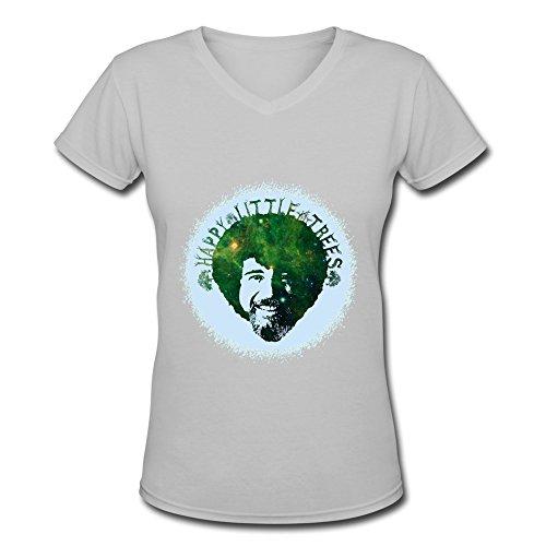 foxshirt-lady-happy-little-trees-logo-v-neck-t-shirt