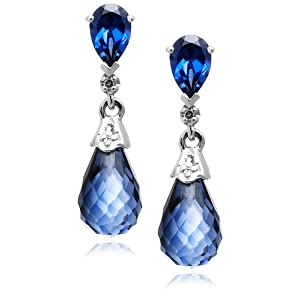 Click to buy 10K White Gold Sapphire and Diamond Teardrop Earrings from Amazon!