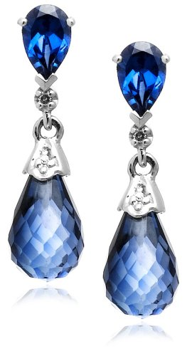 10k White Gold Created Ceylon Sapphire and Diamond Earrings (.02 cttw, H-I Color, I2-I3 Clarity)
