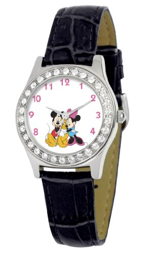 Disney Women's D1498S005 Queen Collection Mickey and Minnie Black Leather Strap Watch