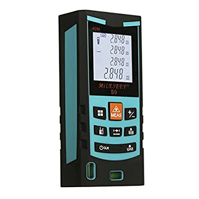 Mileseey S9 40M/60M/80M/100M Handheld Blue/Yellow Laser Distance Meter Rangefinder Range Tester with Bubble Level Tape Measure Accuracy +-1.5mm
