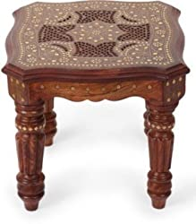 Shilpi Sheesham Wood, Brass Inlay Solid Wood Coffee Table 14x14x12 LxBxH Inches