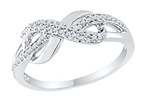 Diamond Infinity Endless Love Promise Ring .925 Sterling Silver