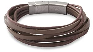 Fossil Gents Multi Layered Grey Leather Bracelet With Stainless Steel Fastening And Detachable Link by Fossil