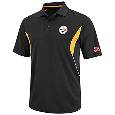 NFL Mens Pittsburgh Steelers Field Classic Black/Yellow Gold/White Short Sleeve Synethic Polo