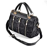 Hot Black Celebrity PU Leather Ladies Lace Stud Tote Shoulder Bag Handbag