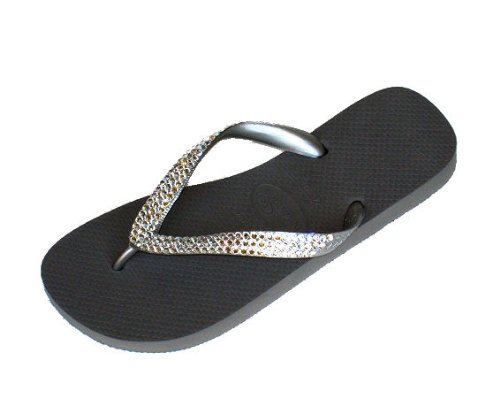 Cheap SILVER METALLIC CLEAR Swarovski Crystal Havaianas Flip Flops Sandals Thongs sizes 5-11 (B002HIIK1E)