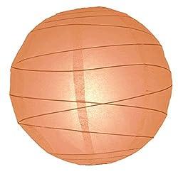 WeGlow International 14 Peach Free-Style Ribbed Paper Lantern (Set of 2)