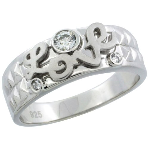 Sterling Silver Men's Wedding Ring CZ Stones LOVE, 1/4 in. 7 mm, Size 8.5