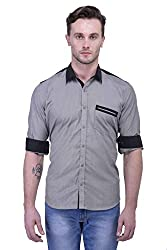 Trendster Grey Solid Full Sleeve Casual Men's Shirt