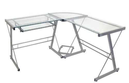 "Buy Low Price Comfortable L-Shaped Computer Desk with ""X"" Design in Silver Finish (B0034TCOH6)"