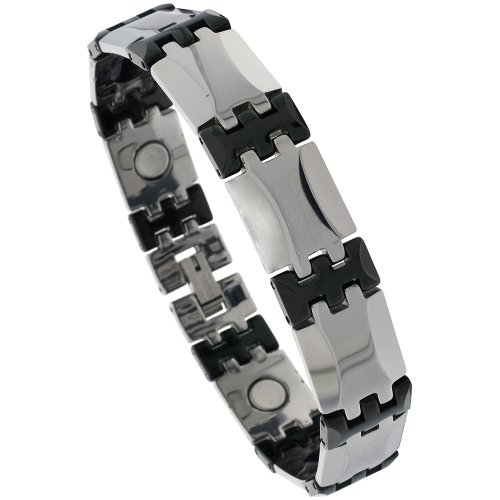 Sabrina Silver Tungsten & Ceramic 2-Tone (Gun Metal & Black) Bar Link Magnetic Bracelet, 1/2 in. (13mm) wide (BTN136)