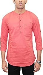 AA' Southbay Men's Tomato Red 100% Cotton Long Sleeve Solid Amsler Casual Short Kurta