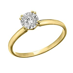 IGI Certified 14k yellow-gold Round Cut Diamond Engagement Ring (0.58 cttw, E Color, VS1 Clarity) - size 6