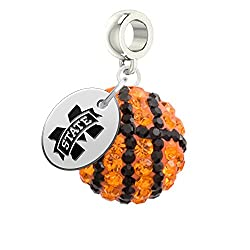 Mississippi State Bulldogs Basketball Drop Charm Fits All Pandora Style Bracelets