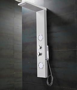 Weißes ALU Duschpaneel mit Wasserfall, Massage und Regendusche von Sanlingo  BaumarktKundenbewertung und Beschreibung