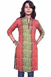 Miraaya Women's Cotton Kurti (M2538A_89025_Orange Green_XX-Large)