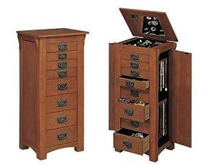 Powell 255 Mission Oak Jewelry Armoire: Amazon.co.uk ...