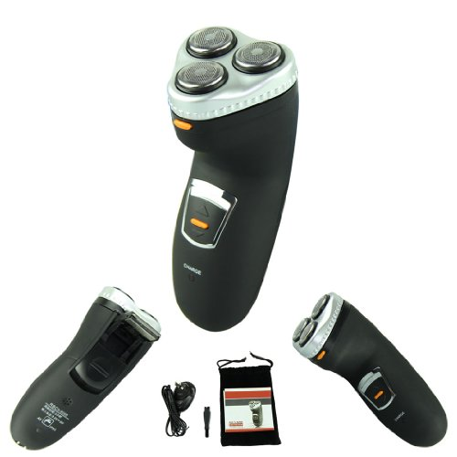 Voberry Hot Sale Washable Waterproof 3 Heads Rotary Electric Shaver Hair Razor Rechargeable Black
