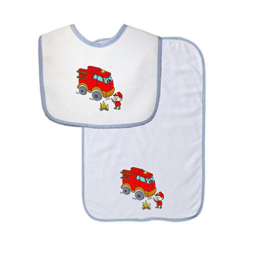 Red Fire Truck Cute Smiling Firefighter Terry Cotton Baby Bib & Burp Cloth Set