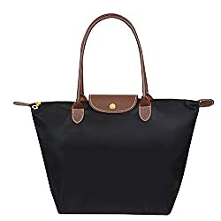 Women's Foldable Large Tote Bags Shopping Beach Shoulder Handbags Purse (M, Black )