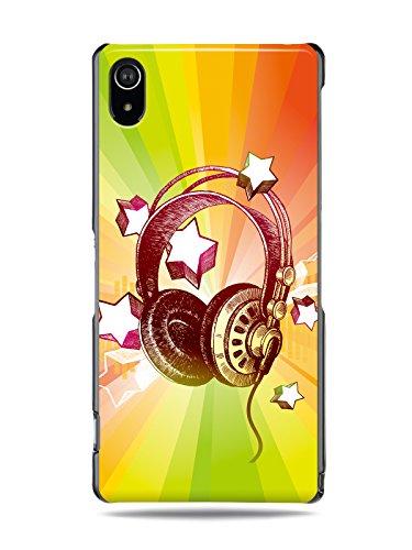 "Grüv Premium Case - ""Colorful Music Dj Headphones & Stars"" Design - Best Quality Designer Print On Black Hard Cover - For Xperia Z2"