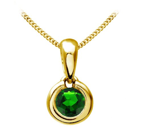 Chic 9 ct Gold Ladies Solitaire Pendant + Chain with Chrome Diopside 0.25 ct - 4mm*4mm