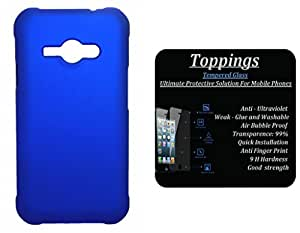 Toppings Hard Case Cover With Tempered Glass For Samsung Galaxy J1 Ace - Blue