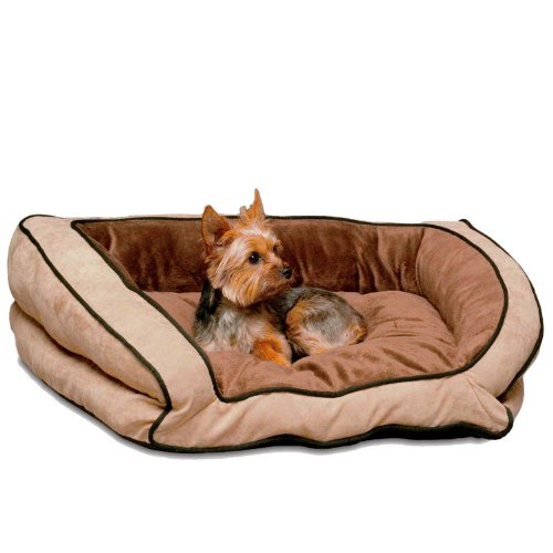 K&H Bolster Couch Pet Bed, Small 21-Inch By 30-Inch, Mocha/Tan front-859183