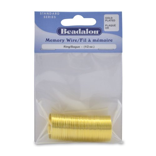 Beadalon Gold Plated Memory Wire Ring, 1/2-Ounce/Pkg, Approximately 99 Loops