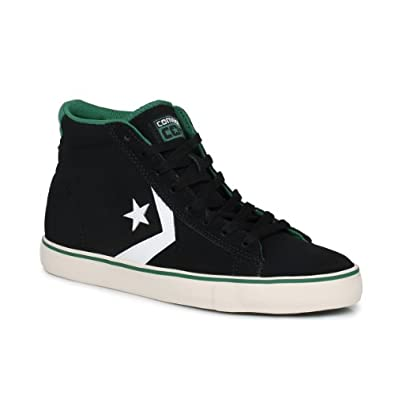 Buy Converse Pro Leather Vulcanized Mid Jet Unisex Black Forest Green Trainers by Converse