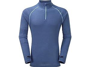 Trekmates Mens Merino Fusion Long Sleeve Zip Top Blue: Small