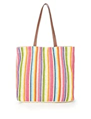 Rainbow Striped Shopper Bag