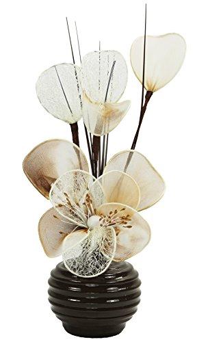 Flourish 813 - Vaso con fiori finti in tessuto e fil di ferro, 32 cm, colore: Caffè/crema
