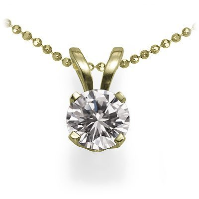 14K Yellow Gold Round Solitaire Diamond Pendant (5/8 ctw, H-I/I1)