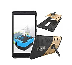 Americhome Hybrid Military Grade Armor Kick Stand Back Cover Case for ONE PLUS THREE (gold/Black)